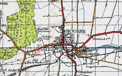 Old map of Bourne in 1946