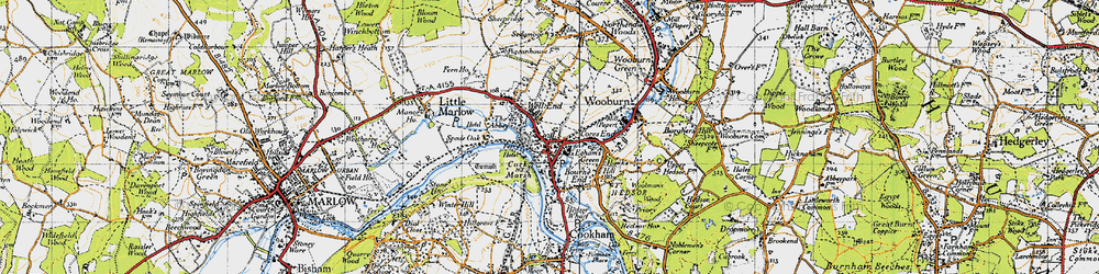 Old map of Bourne End in 1945
