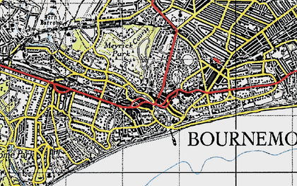 Old map of Bournemouth in 1940