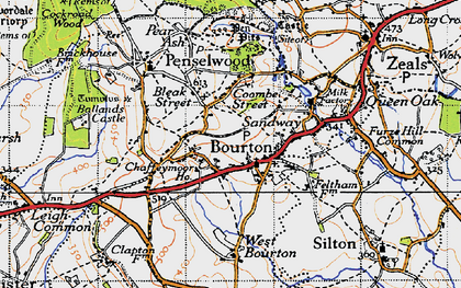 Old map of Bourton in 1945