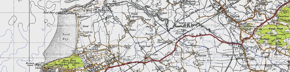 Old map of Bourton in 1946