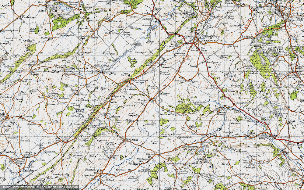 Old Map of Historic Map covering Woodhousefield in 1947