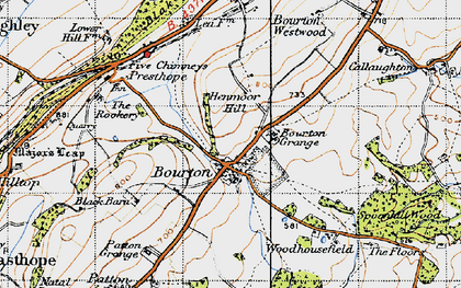 Old map of Woodhousefield in 1947