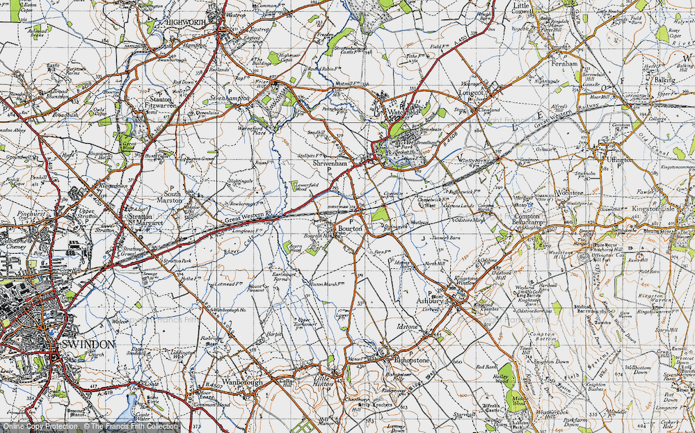 Old Map of Bourton, 1947 in 1947