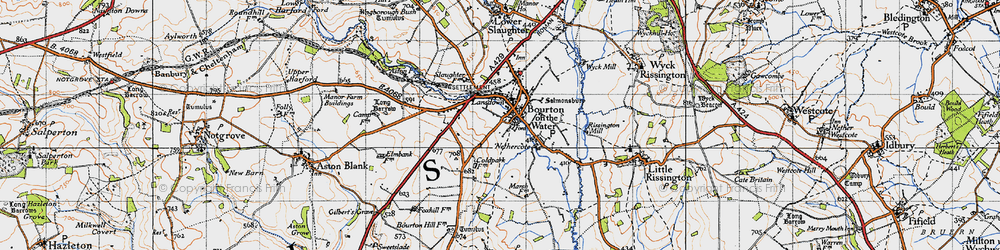 Old map of Bourton-on-the-Water in 1946