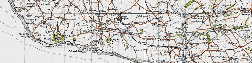 Old map of Boverton in 1947