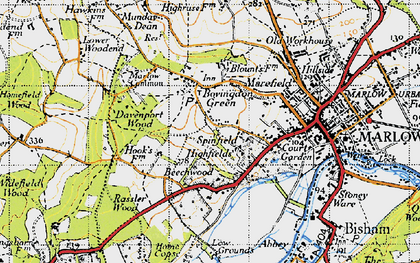 Old map of Bovingdon Green in 1947