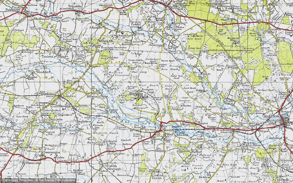 Old Map of Historic Map covering Woolbridge Heath in 1945