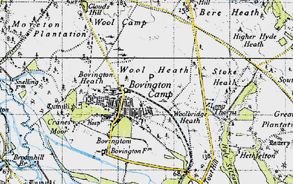 Old map of Wool Heath in 1945