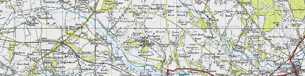 Old map of Bovington Camp in 1945