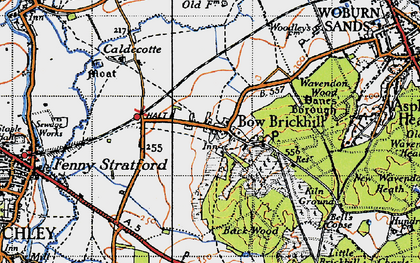 Old map of Bow Brickhill in 1946
