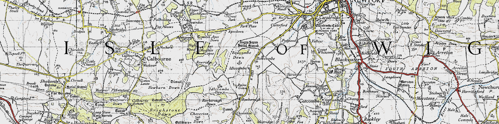 Old map of Apes Down in 1945