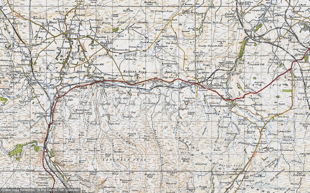 Old Map of Historic Map covering Langdale Knott in 1947