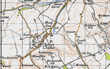 Old map of Bowerchalke in 1940