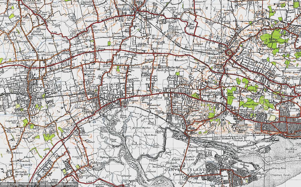 Old Map of Bowers Gifford, 1945 in 1945