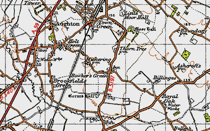 Old map of Bowker's Green in 1947