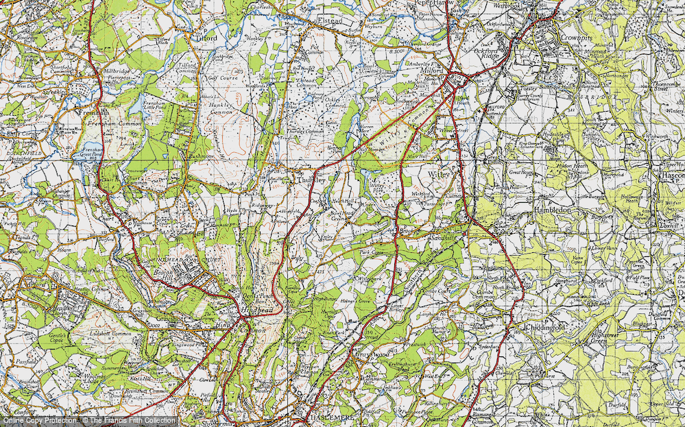 Old Map of Historic Map covering Thursley Lake in 1940