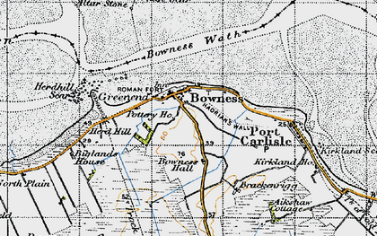 Old map of Bowness-on-Solway in 1947