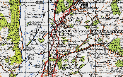 Old map of Bowness-On-Windermere in 1947