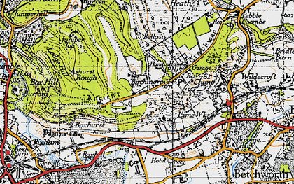 Old map of Box Hill in 1940