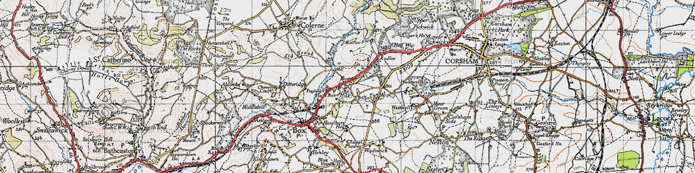 Old map of Box Hill in 1946
