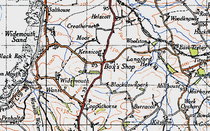 Old map of Langford Hele in 1946