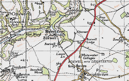 Old map of Boxwell in 1946