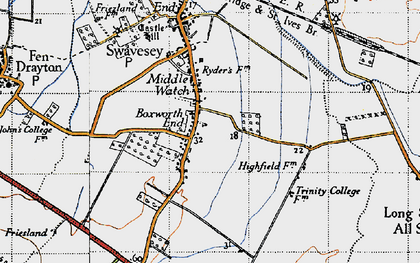 Old map of Boxworth End in 1946