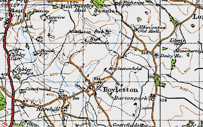 Old map of Alkmonton Village in 1946