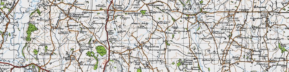 Old map of Alkmonton Village in 1946