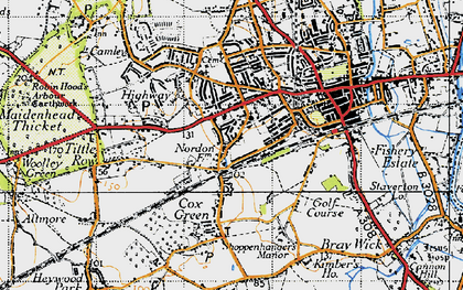 Old map of Boyn Hill in 1947