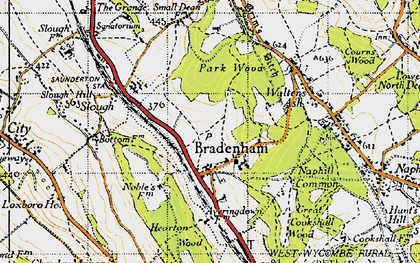 Old map of Bradenham in 1947
