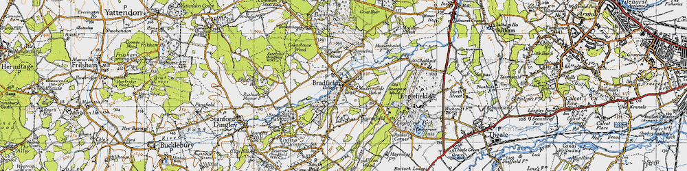 Old map of Bradfield in 1945