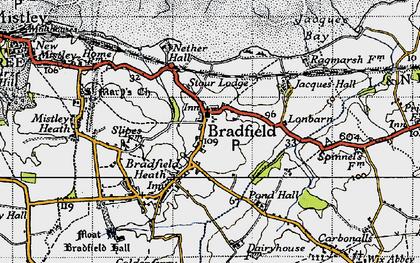 Old map of Bradfield in 1946