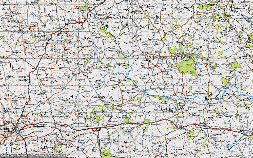 Old Map of Historic Map covering Allacott in 1946