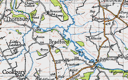 Old map of Allacott in 1946