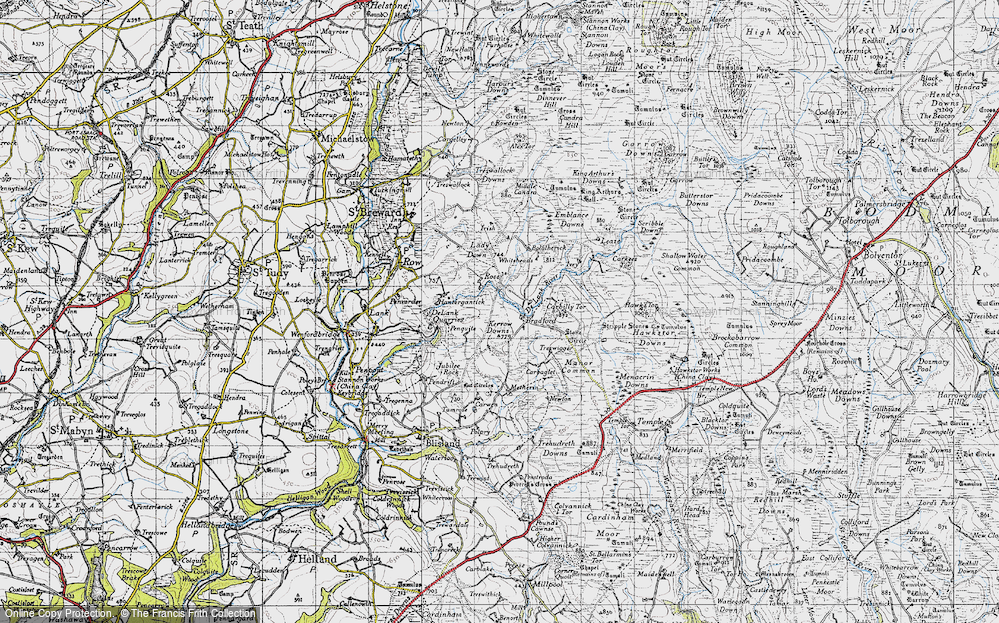 Old Map of Historic Map covering Leaze in 1946