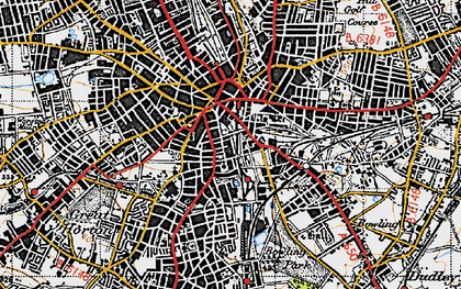 Old map of Bradford in 1947