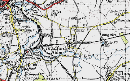 Old map of Bradford Abbas in 1945
