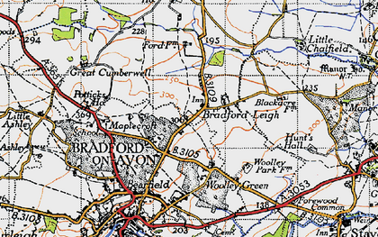 Old map of Bradford Leigh in 1946
