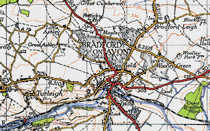 Old map of Bradford-On-Avon in 1946
