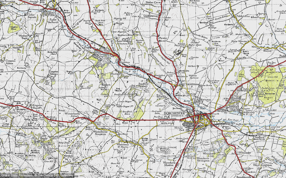 Old Map of Historic Map covering Tilly Whim in 1945