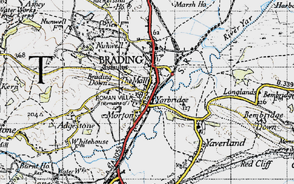 Old map of Brading in 1945