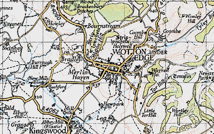 Old map of Wotton Hill in 1946