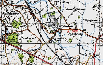 Old map of Bradley Green in 1946