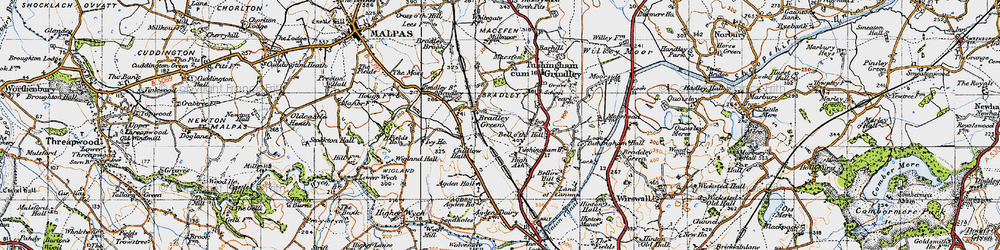 Old map of Agden Hall in 1947