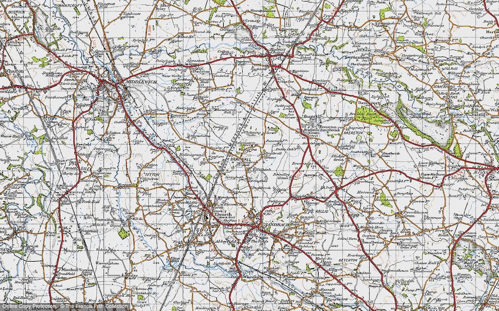 Old Map of Bradwall Green, 1947 in 1947