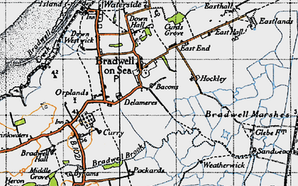 Old map of Bradwell on Sea in 1945