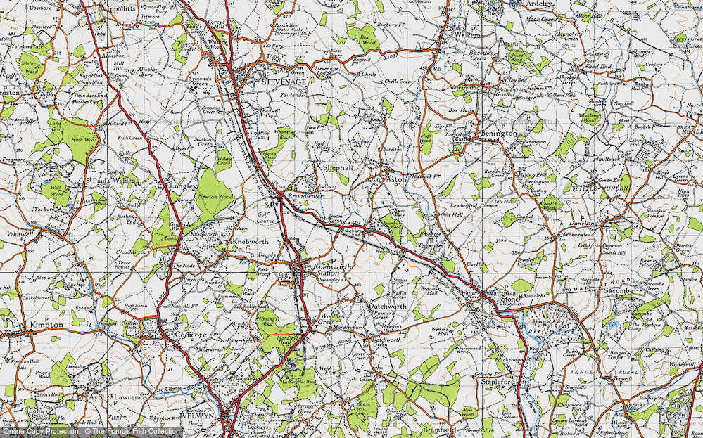 Old Map of Historic Map covering Astonbury Wood in 1946