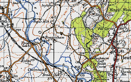Old map of Bragenham in 1946
